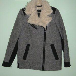 Zara Gray Wool Shearling Collared Moto Coat S